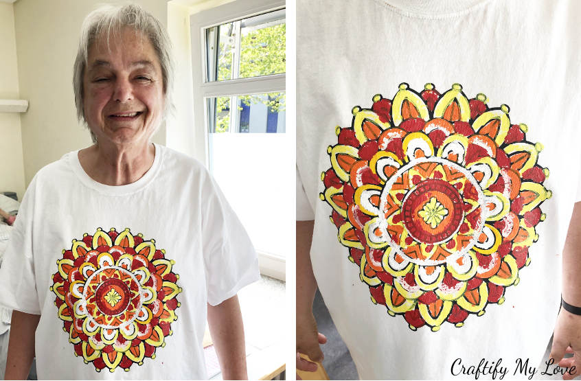handcoloured handpainted unique mandala t-shirt activity using fabric paint rather than pens