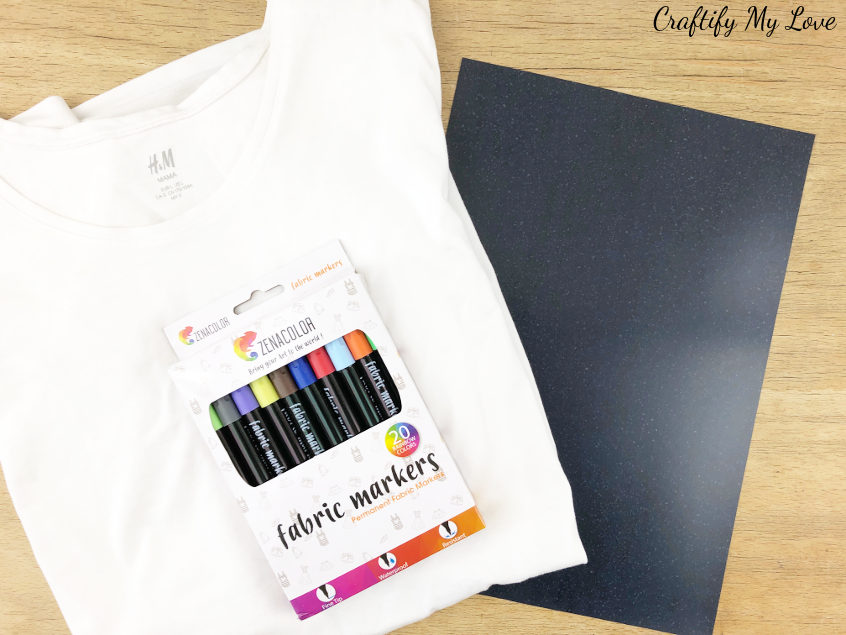 supplies to diy a mandala colouring t-shirt