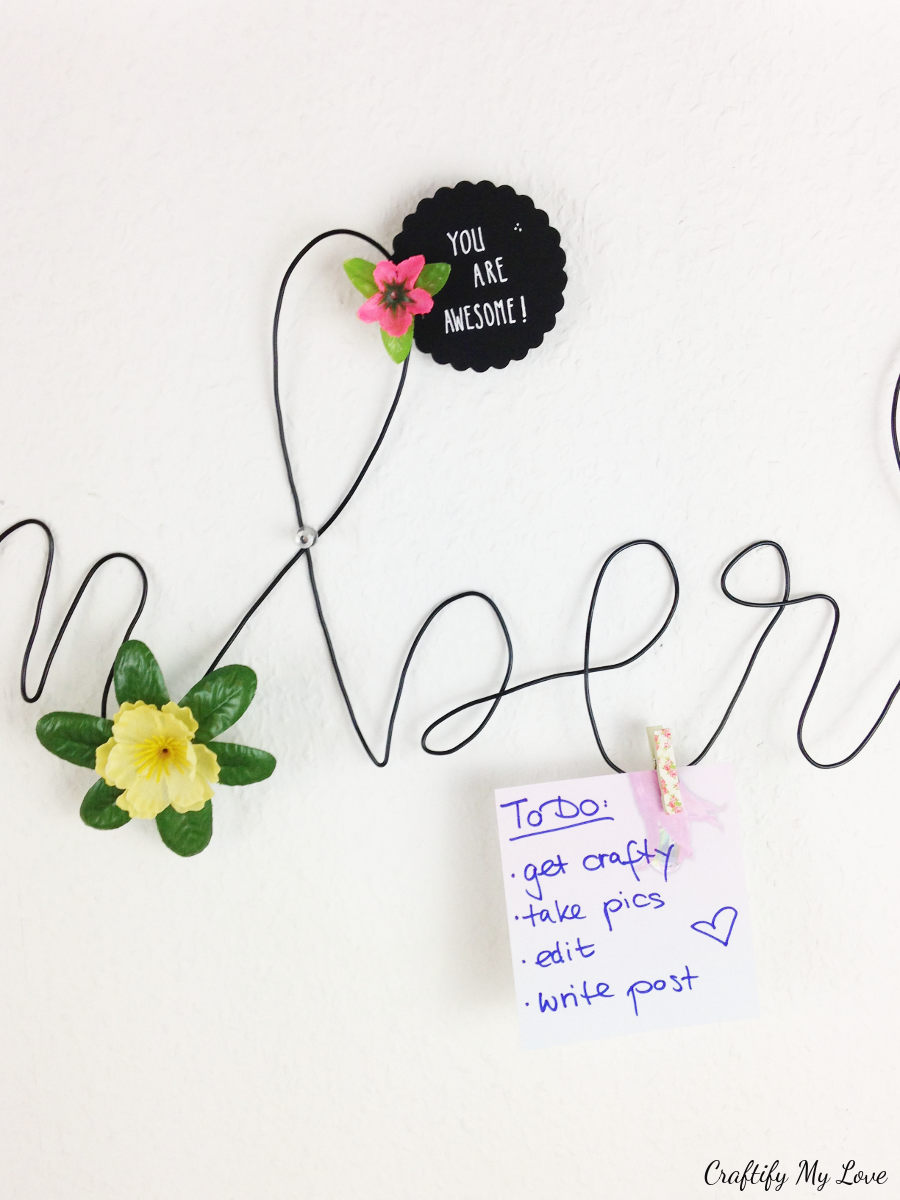 notes and chores on bent wire lettering memo board