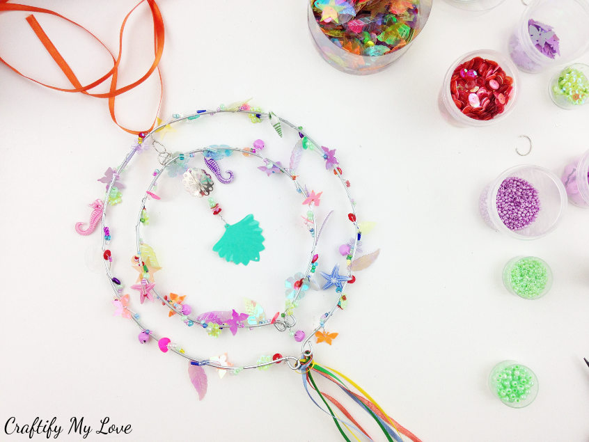 sparkly DIY wind spinner garden decor project