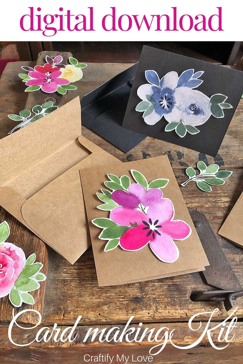 Make your own floral watercolor greeting cards without any knowledge on watercoloring! You'll find DIY instructions and ready to print digital files to get crafty. #craftifymylove #cardmakingkit #watercolorfloras #handmadecards #digitaldownload