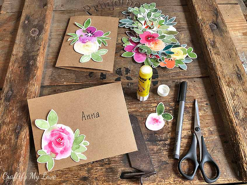 card making with watercolor florals cutouts buy once use forever