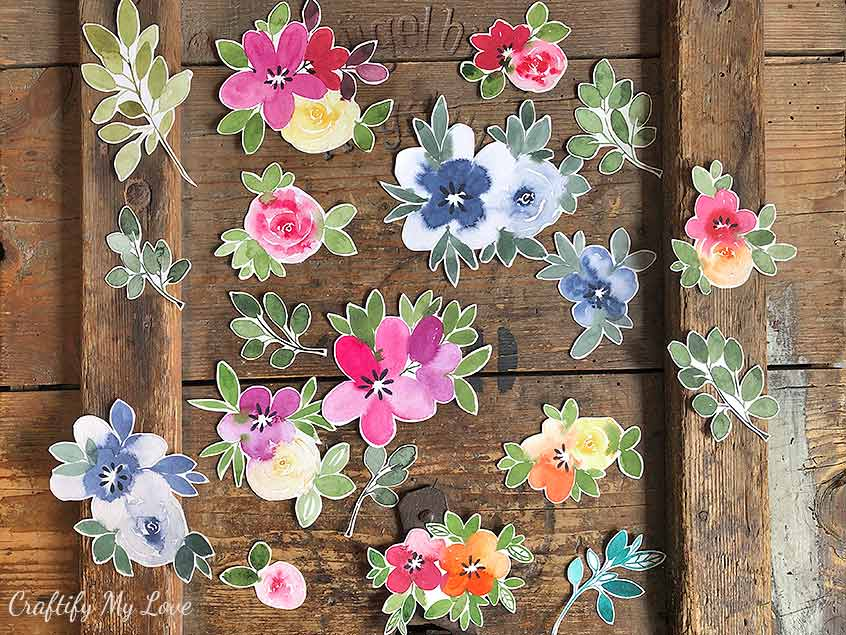 floral watercolor cutouts multi pupose craft kit scrapbooking card making home decor wall art you name it
