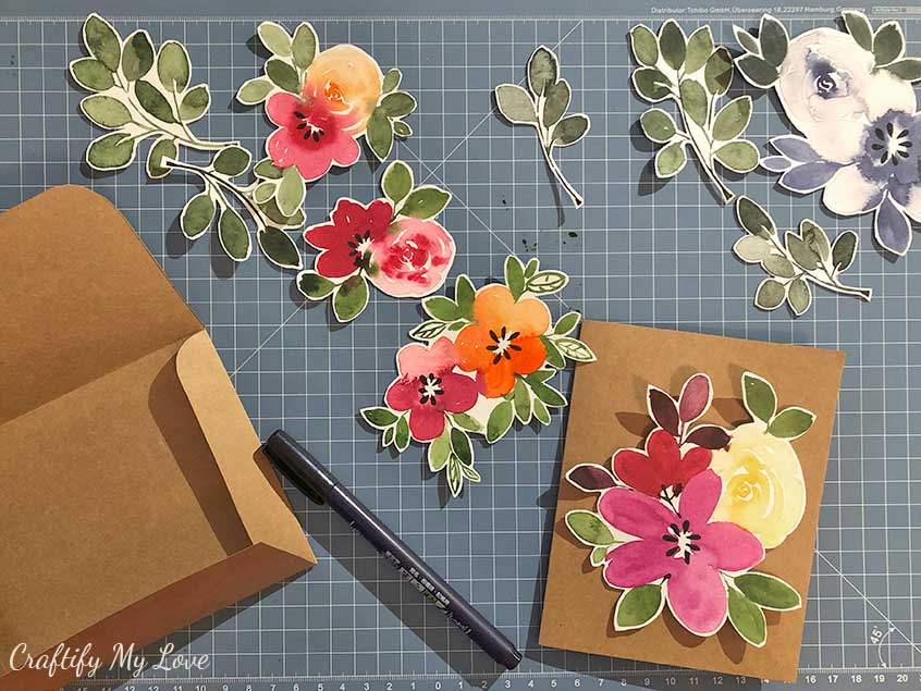 floral watercolor elements card making kit instant digital download to print at home