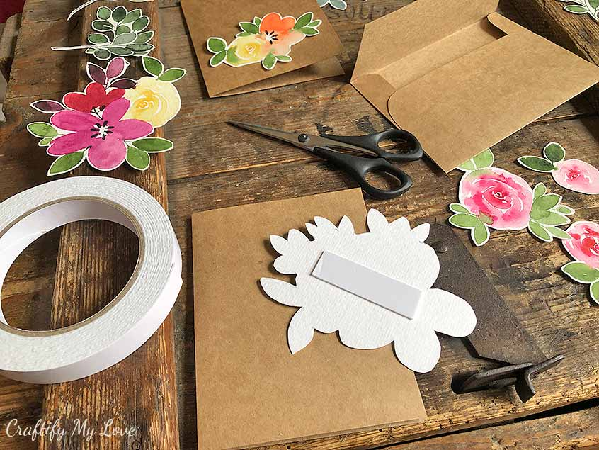 handmade floral greeting cards with watercolor cutouts