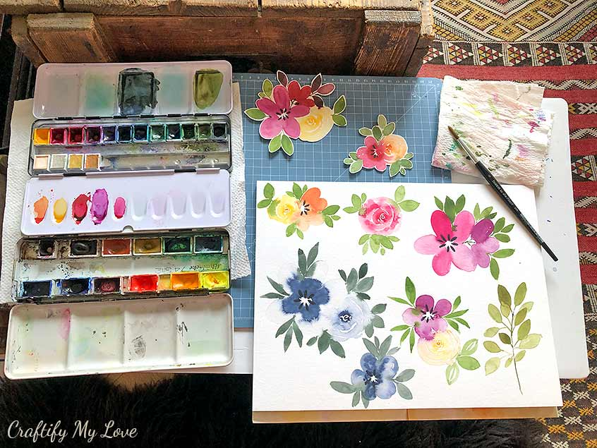 how to recycle watercolor practice sheets into beautiful handmade watercolor floral greeting cards